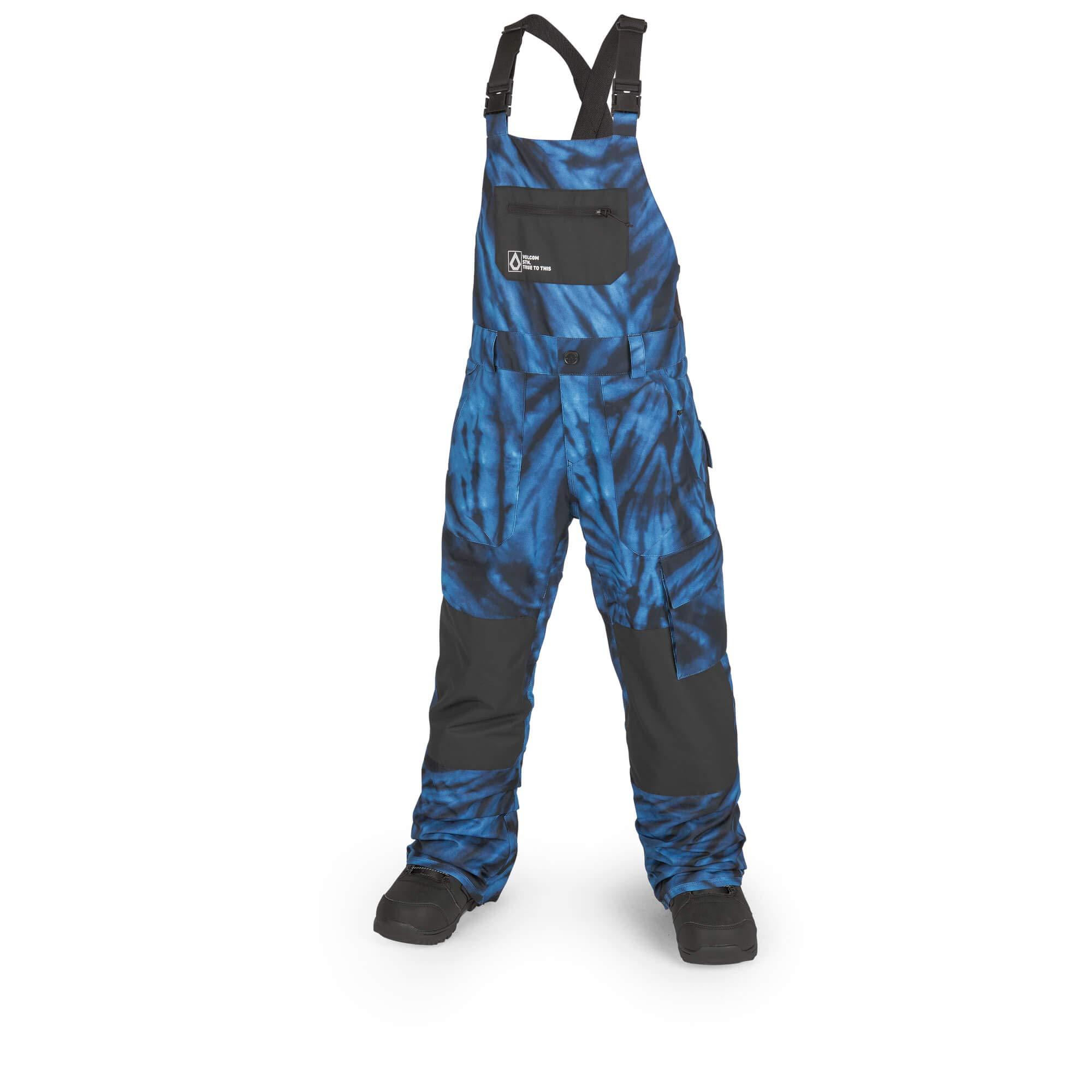 Volcom Boys Barkley 2 Layer Shell Bib Snow Overall, Blue tie/dye, Large