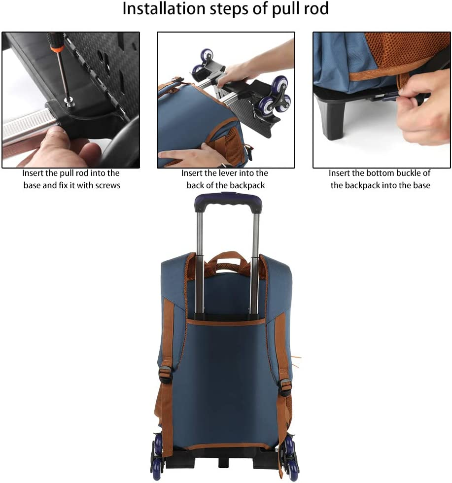 Rolling Backpack Trolley Wheeled Carry-on Travel Bag for Unisex Teenagers