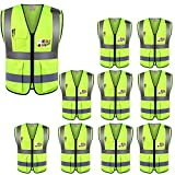 ZOJO High Visibility Reflective Vests,Lightweight Mesh Fabric, Wholesale Safety Vest for Outdoor Works, Cycling, Jogging,Walking,Sports-Fits for Men and Women (Pack of 10, Neon Yellow)