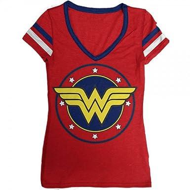 28143a2b1 Amazon.com  DC Comics Wonder Woman Logo V-Neck Junior s T-Shirt ...