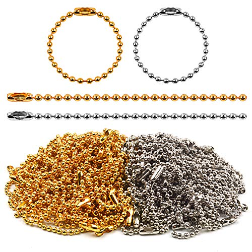 Jdesun 200 Pieces 100mm Long Bead Connector Clasp 2.4 mm Diameter Ball Chains Keychain Tag Key Rings, Silver and Gold ()