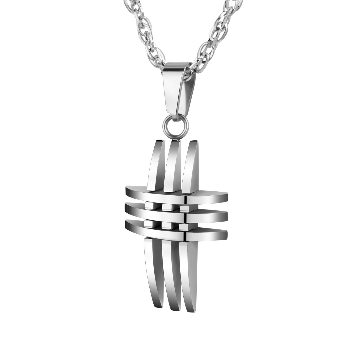 abooxiu Polished Stainless Steel Multilayer Cross Pendant Necklace 24 Inches