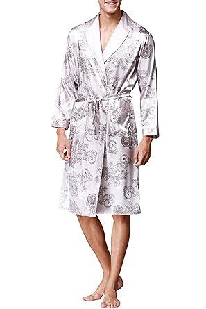 Männer Satin Pyjamas Silk Nachtwäsche Nachthemd Robe Bad lose ...