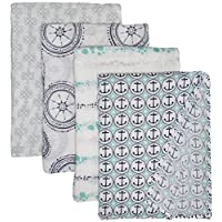 aden + anais Classic Muslin Swaddle Blanket 4 Pack, Ahoy Baby Nautical Anchor...