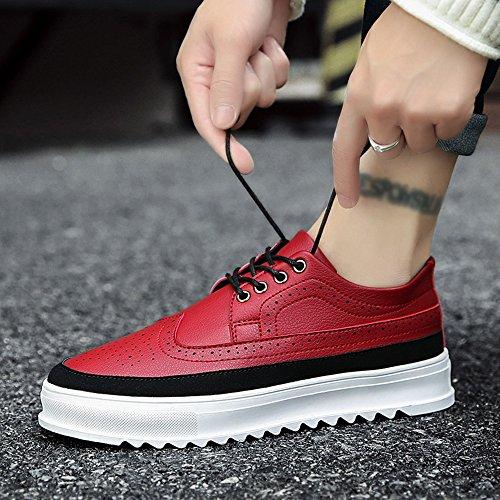 Rouge Hommes Uk9 Eu43 Pour Chaussures couleurs Feifei En Couleurs Fond 3 Épais Cuir De Chaussures Cn44 Loisirs Taille D'hiver qHC65nTwC