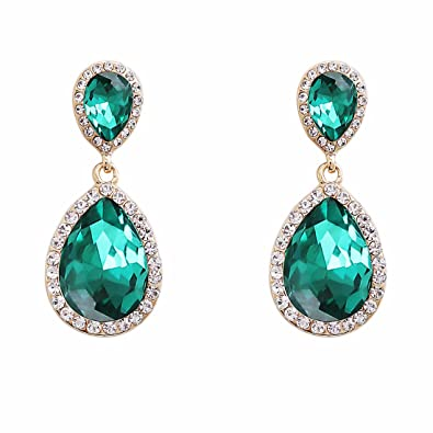 Amazon nlcac green crystal wedding earrings dangle teardrop nlcac green crystal wedding earrings dangle teardrop pear shape long chandelier earring bridal aloadofball Image collections