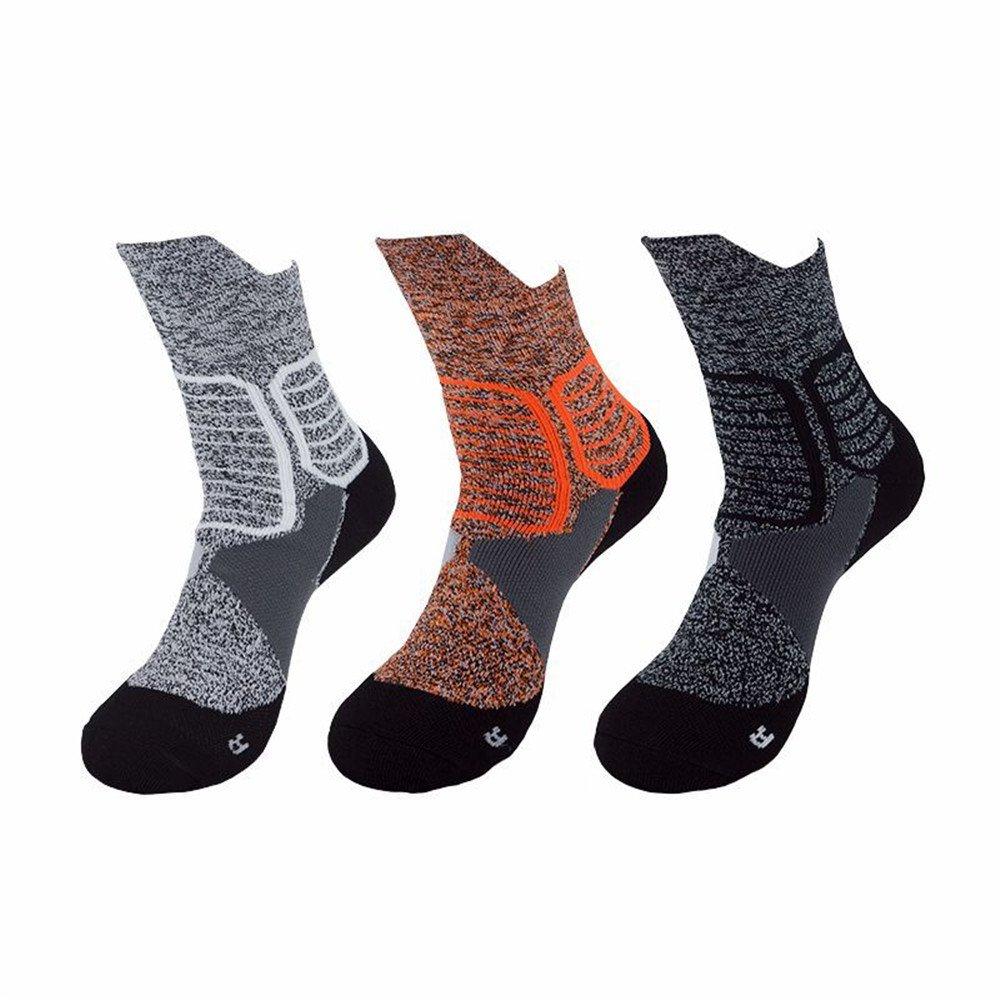 HLFaith 3 Pairs Men Athletic Socks Mid Calf Sports Performance Socks