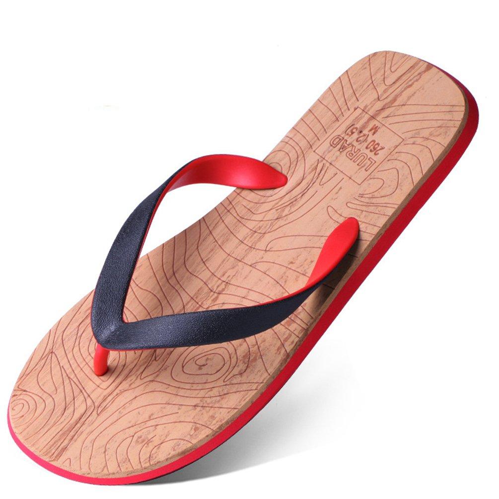 Herren Flip Flops Flach Rundzehen Peep Toe Rutschfest Abriebfest Atmungsaktive Zehentrenner Pantoletten Sandaletten Rot