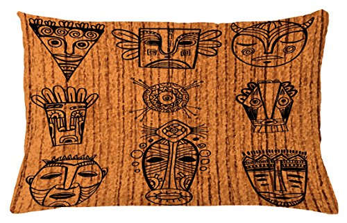 African Throw Pillow Cushion Cover by Ambesonne, Ritual and Ceremonial Native Tribal Cultural Masks Spiritual Religious Art Print, Decorative Accent Pillow Case, 26 W X 16 L Inches, Brown (Native Art Masks)