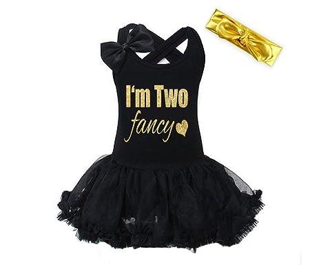 9230811dab50b Amazon.com: G&G - Black Gold I'm Two Fancy 2nd Birthday Dress for ...