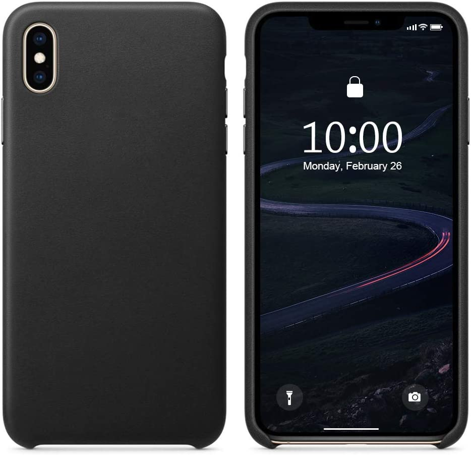 SURPHY Leather Case Compatible with iPhone X Case iPhone Xs Case, Genuine Leather Protective Case Cover (Slim Case with Metallic Buttons & Microfiber Lining) Compatible with iPhone X/XS 5.8 (Black)