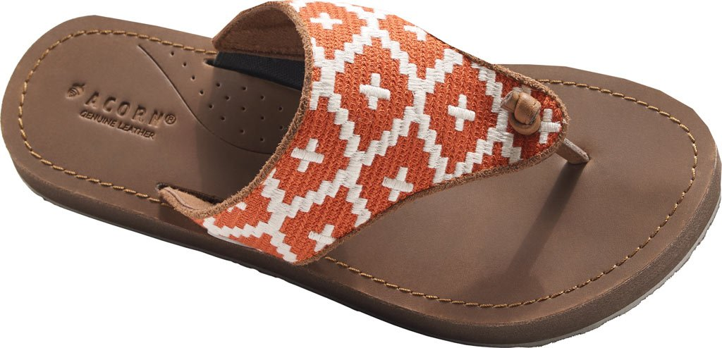 Acorn Artwalk Leather Flip Flop - Women's Orange/Cream Southwest, 8.0