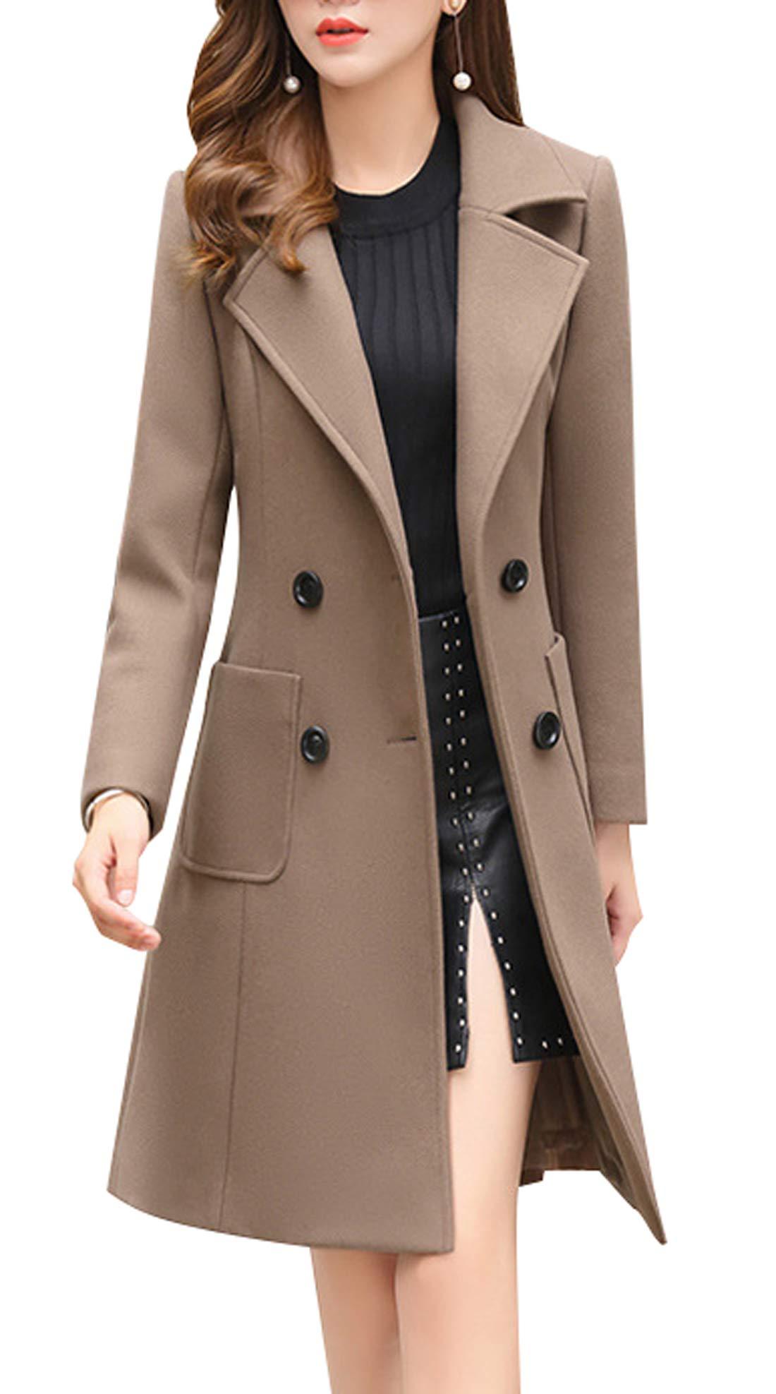 chouyatou Women Elegant Notched Collar Double Breasted Wool Blend Over Coat (Large, Khaki) by chouyatou