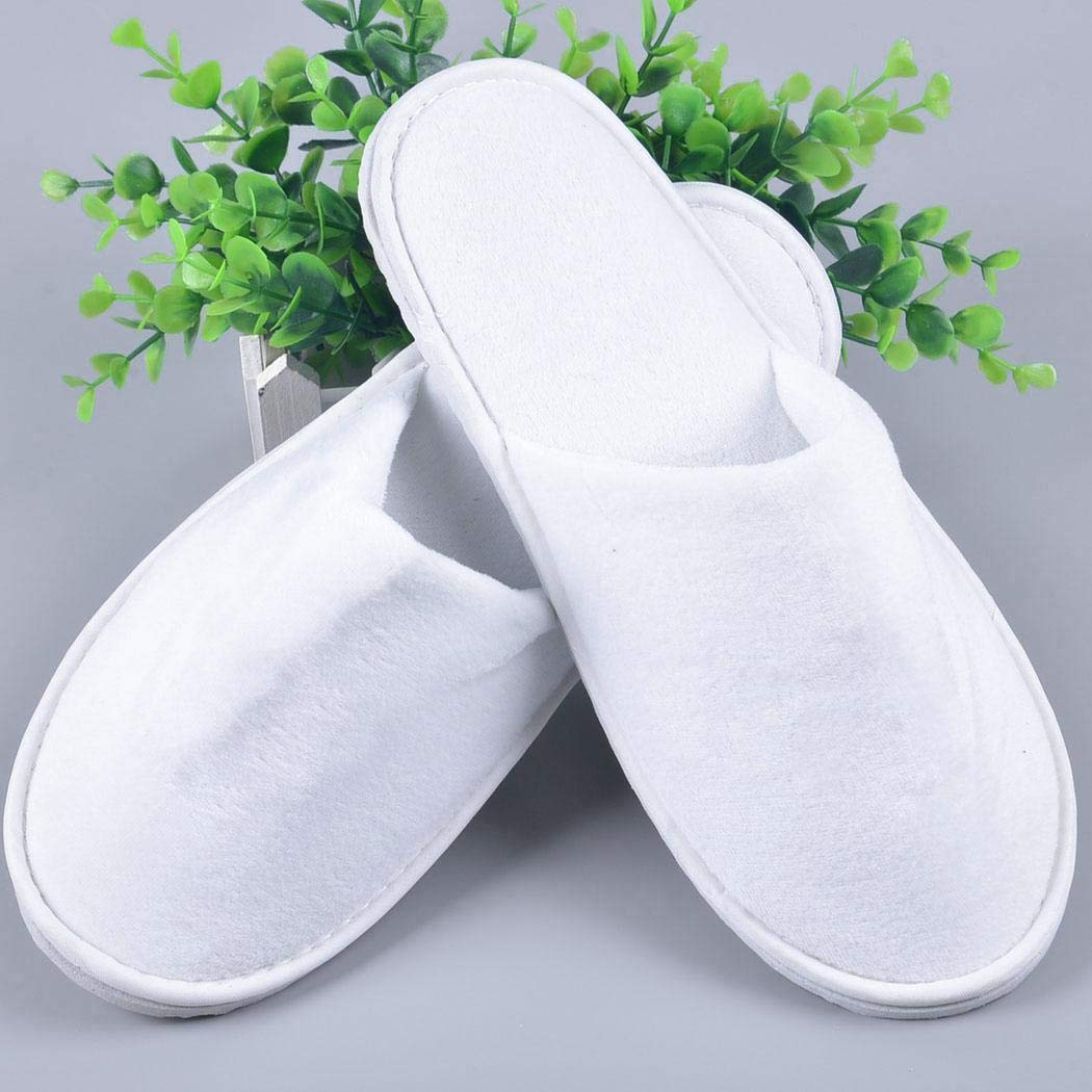 Zouvo 12 Pairs Disposable Slippers Unisex Casual Plush Anti-slip Disposable Flat Sole Slippers