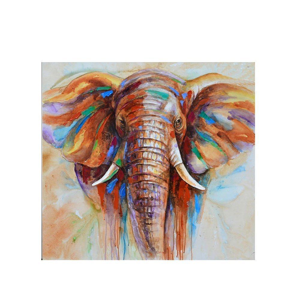 Decdeal Wall Decoration Paintings Hand Painted Elephant Oil Painting Canvas Wall Picture Gift 32''32''