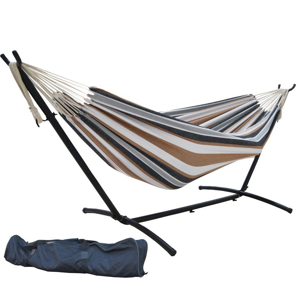SueSport Double Hammock With Space Saving Steel Stand Includes Portable Carrying Case, Desert Moon