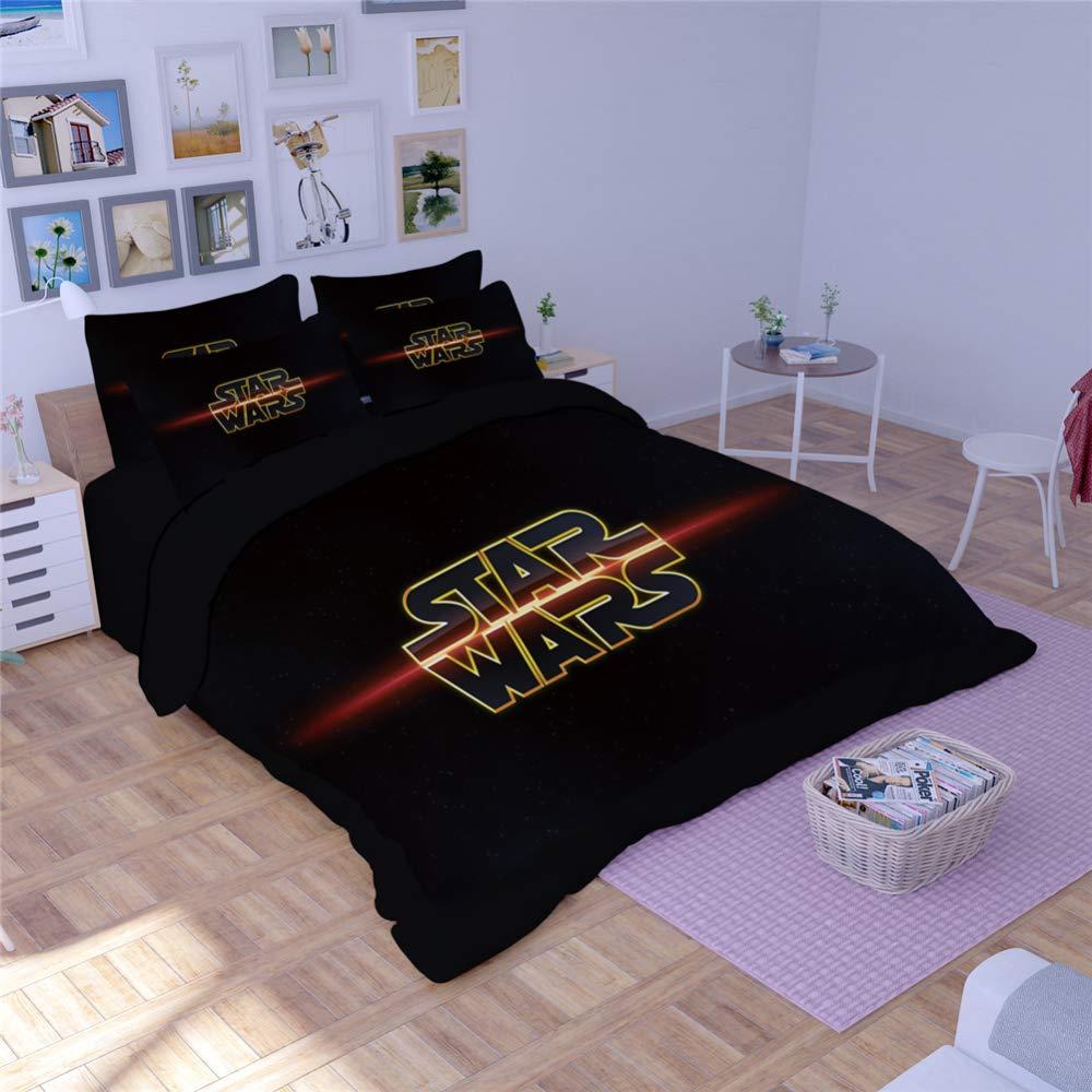 Wařm Star Wars 3 Pieces Bedding Sets Duvet Cover Pillowcase Printing Beddings set Style-1 Double