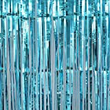 3E Home 3 FT x 8 FT Metallic Tinsel Foil Fringe Curtain Backdrop for Party Wedding Decoration (Pack of 2, Total 6 FT x 8 FT), Lake Blue / Turquoise