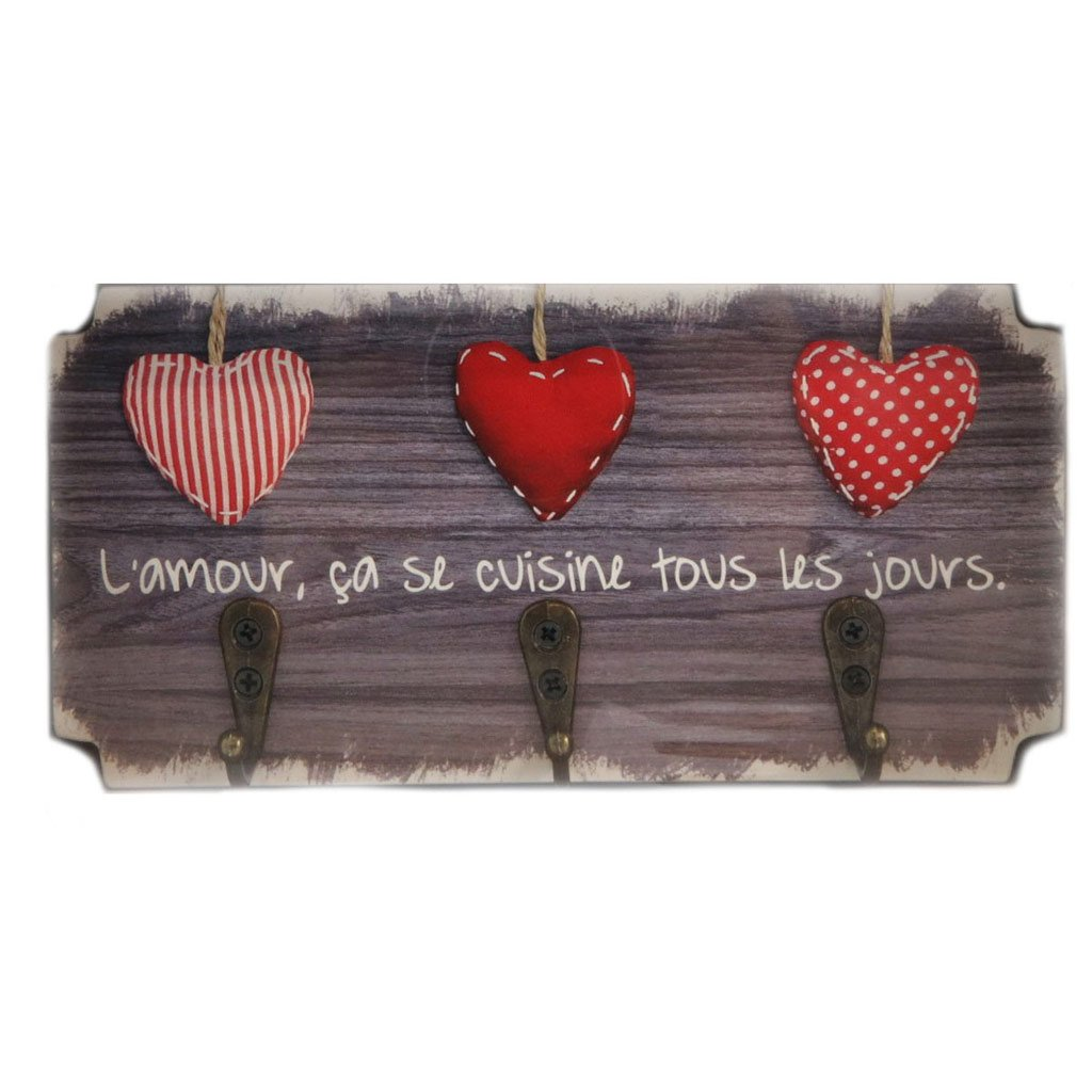 Les Trésors De Lily P5299 - Strofinacci da cucina in legno 'Messages' marrone (amore, cuoce tutti i giorni) 3 ganci - 19x10 cm. Les Tresors de Lily 090899WOO112017P529900