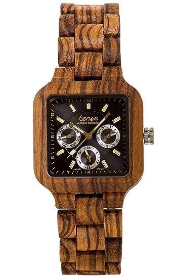 TENSE//La Madera Reloj - Mens Summit Zebrano) - Hombre de reloj - Madera de reloj b7305z: Amazon.es: Relojes