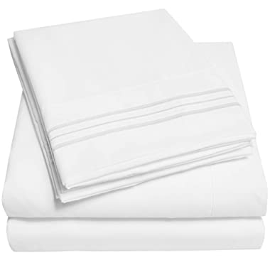 1500 Supreme Collection Extra Soft Full Sheets Set, White - Luxury Bed Sheets Set with Deep Pocket Wrinkle Free Hypoallergenic Bedding, Over 40 Colors, Full Size, White