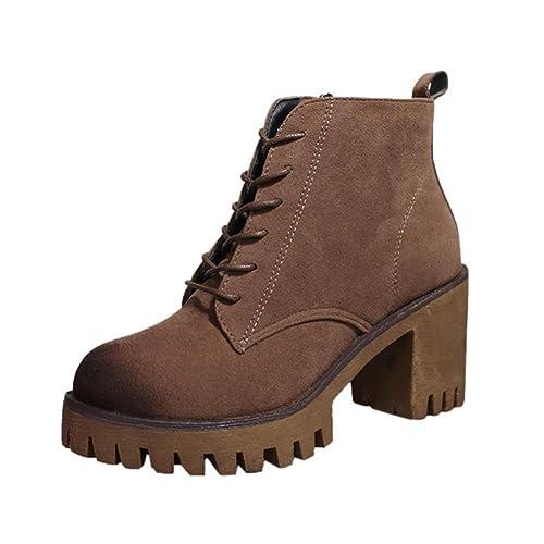 WINWINTOM Moda Mujer Botines Cortos Botines Zapatos de Invierno Martin Boots: Amazon.es: Zapatos y complementos