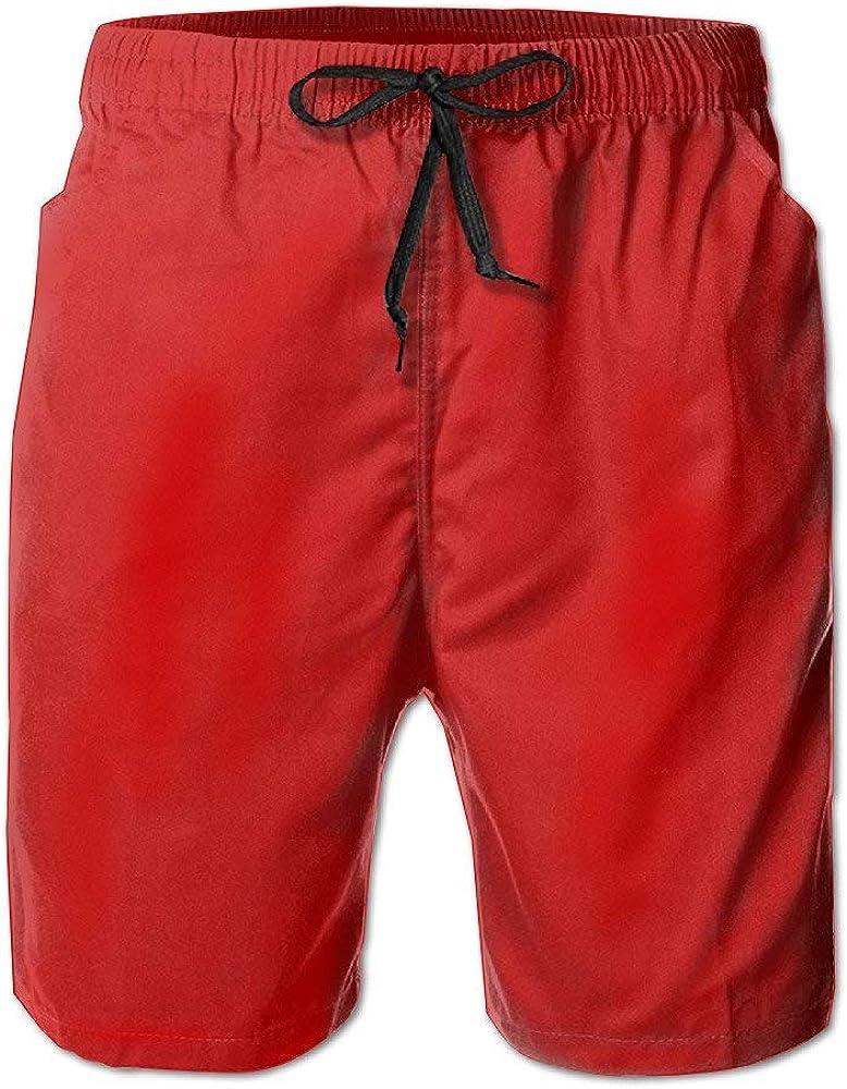 Jhonangel Pantalones Cortos de Playa de Tablas de Surf de Secado rápido Rojo Bañadores de baño con Poket para Hombres