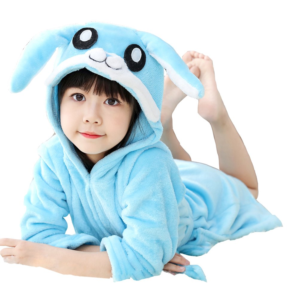 UsHigh Kids Bathrobe Soft Plush Unicorn Robe Warm Hooded Nightgown Unisex Gifts