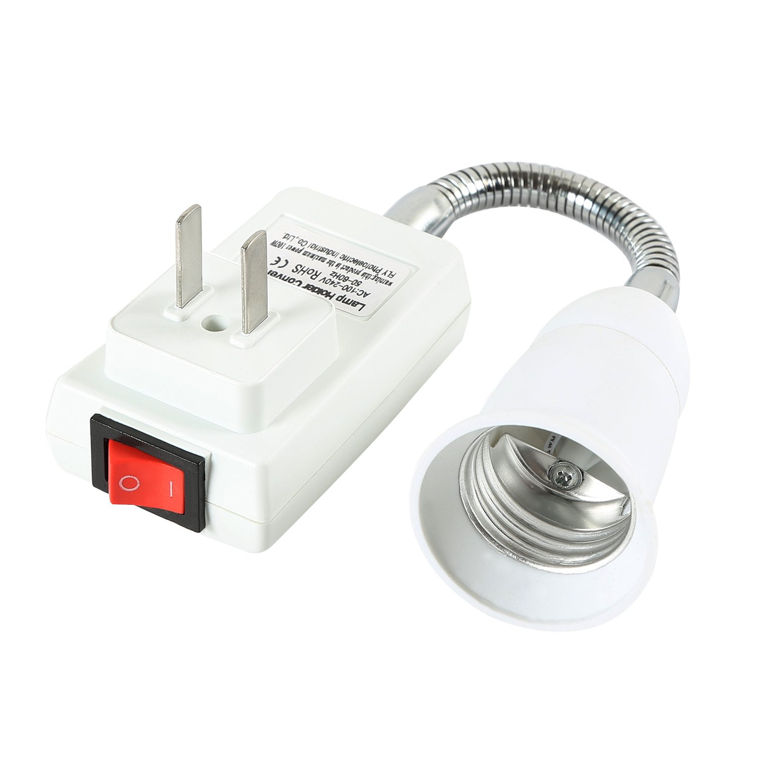Electop E27 Socket Adapter with On//Off Switch to US Plug Flexible Extension Lamp Bulb Holder Converter
