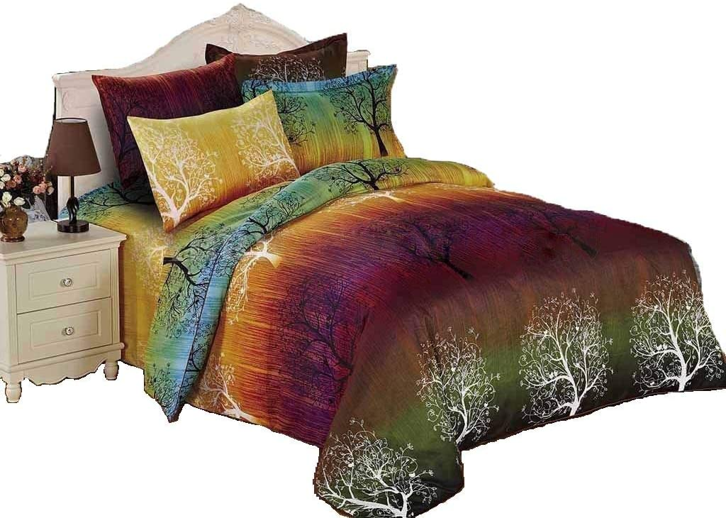 Swanson Beddings Rainbow Tree 7pc Duvet Bedding Set: Duvet Cover and Three Pairs of Pillow Shams (Queen, 7)