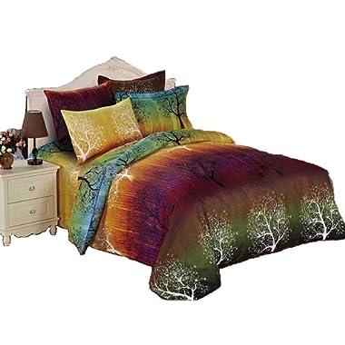 Swanson Beddings Rainbow Tree 3pc Duvet Bedding Set: Duvet Cover and Two Pillowcases (California King)
