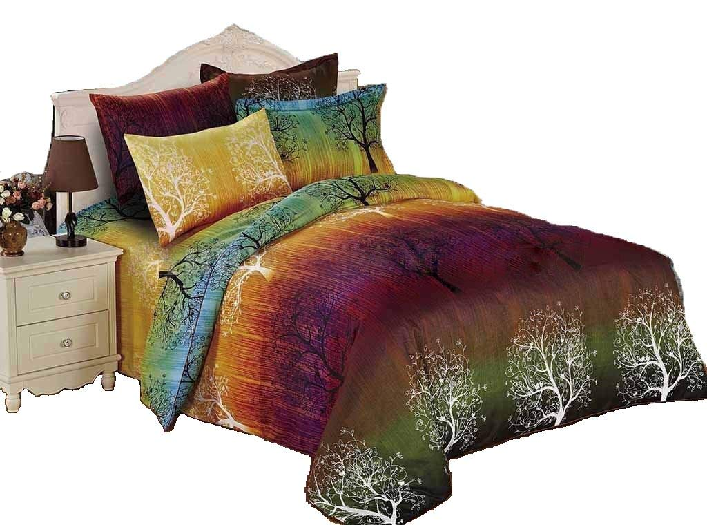 Rainbow Tree 3pc Bedding Set: Duvet Cover and Two Matching Pillowcases (Queen)