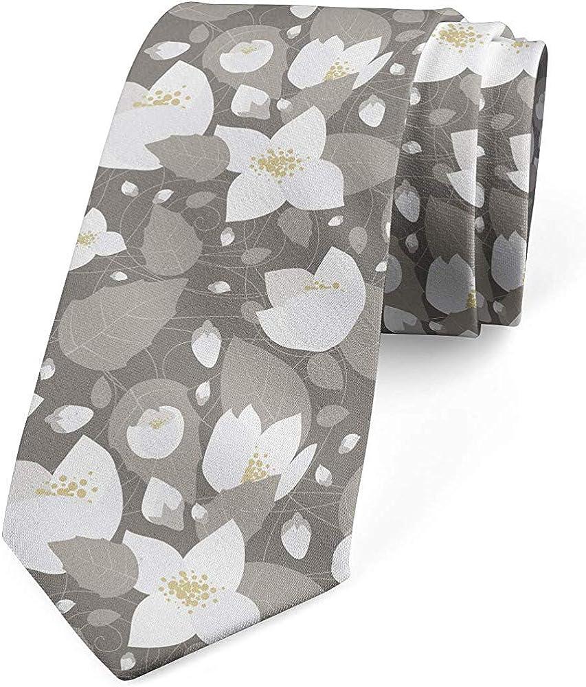 Corbata de hombre, flores románticas de jazmín, arena marrón gris ...