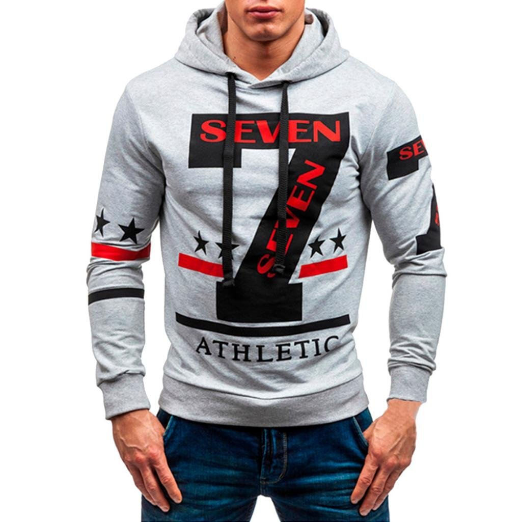 Fiaya Men's Sweatshirt, Men's Autumn Winter Casual 7 Seven Print Long Sleeve Pullover Hoodie Hooded Top Pullover (2XL, Gray)