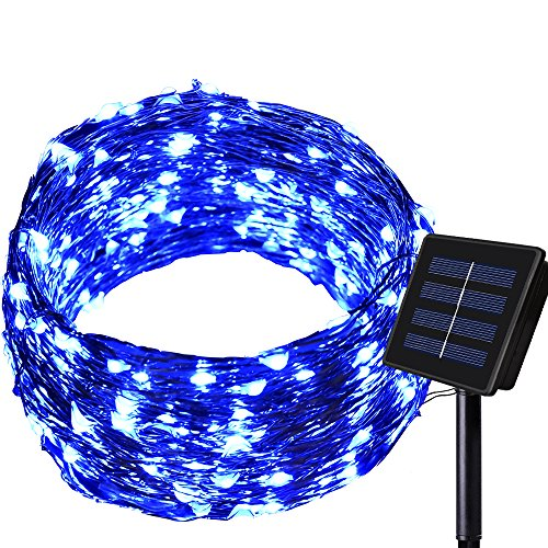 150LED 55ft 16m 8modes Solar String lights - Dolucky Solar Fairy Lights Blue Waterproof Copper Wire Lights Outdoor Lighting for Garden, Wedding, Homes, Party, Halloween, Chrsitmas -