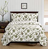 Carrie King / California-King Size, Over-Sized Coverlet 3pc set, Luxury Microfiber Printed Quilt by Royal Hotel