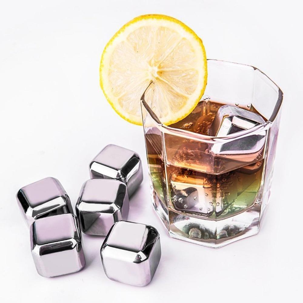 Kpcuu rocas enfriar tus bebidas sin diluci/ón con 1 pinzas de hielo Juego de 8 cubitos de hielo reutilizables de acero inoxidable para enfriar vino enfriadores whisky