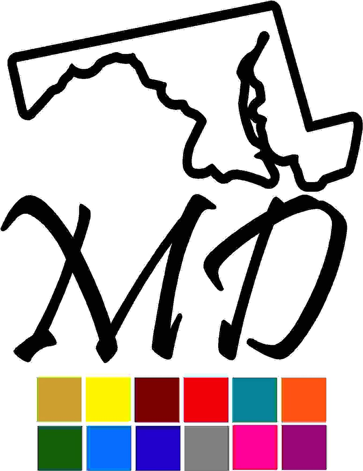 States Maryland Decal Sticker Vinyl Car Window Tumblers Wall Laptops Cellphones Phones Tablets Ipads Helmets Motorcycles Computer Towers V and T Gifts