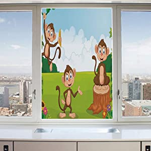 3D Decorative Privacy Window Films,Three Monkeys Playing in a Tropical Forest Banana Africa Safari Nature Decorative,No-Glue Self Static Cling Glass film for Home Bedroom Bathroom Kitchen Office 24x36