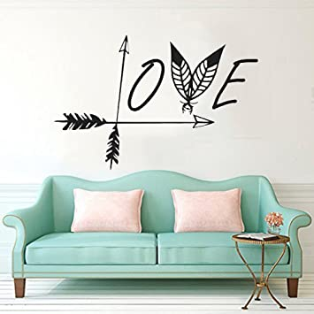 CUGBO Wall Decals Black Love Arrow Wall Sticker Feather Wall Art Mural  Vinyl Stickers Bedroom Living Room Decor