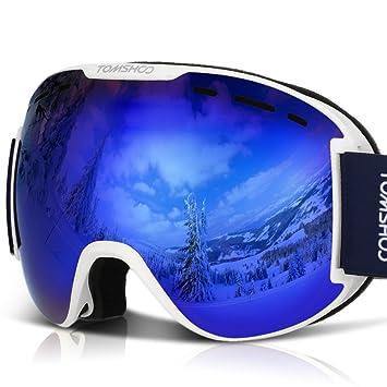 TOMSHOO Lunettes de Ski Masque de Snowboard Anti-buée Anti-UV Lunettes de  Protection 56ff5271c418