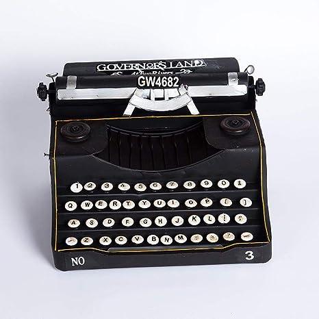Kaige Adornos de escritorio Máquina de escribir antigua Vintage modelo negro decoración hogar Bar café adornos