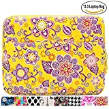 13.3 inch Laptop Sleeve Case Bag for Macbook Air 13 Pro Retina 13 Computer Bag for 13.3 Inch Tablet (Yellow Flower )