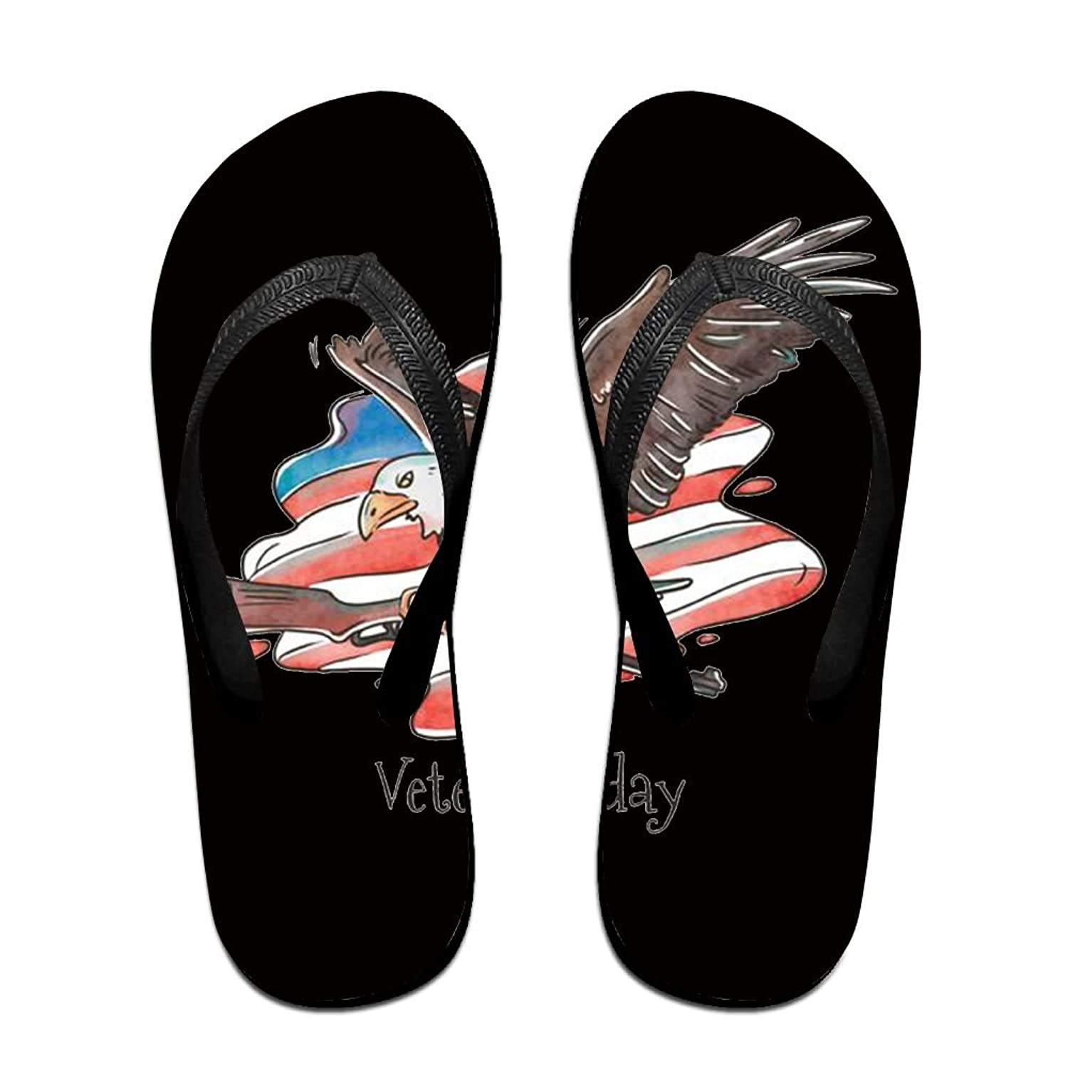 Unisex Non-slip Flip Flops Old American Flag Eagle Cool Beach Slippers Sandal