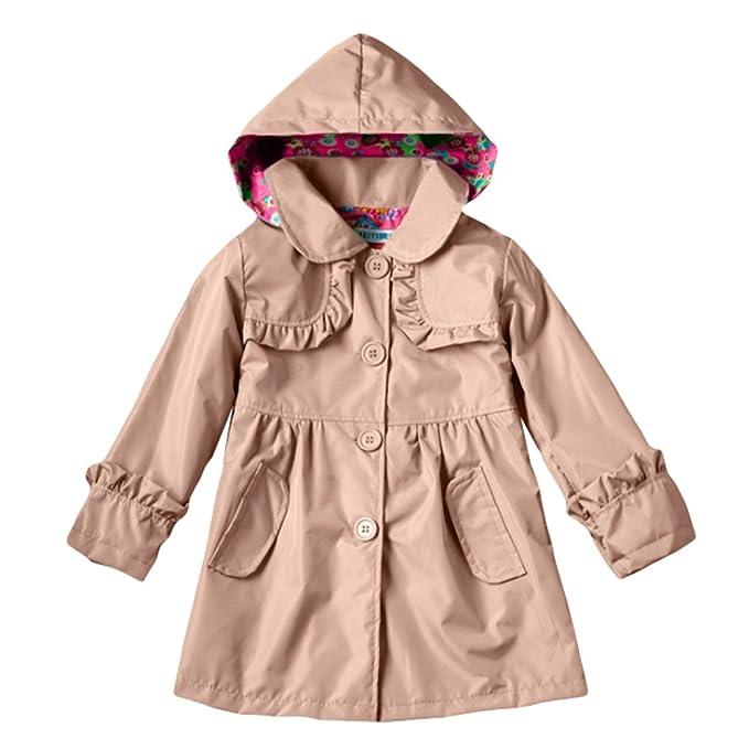 TAIYCYXGAN - Abrigo Impermeable - Parka - para niña Caqui M: 100-105 cm: Amazon.es: Ropa y accesorios