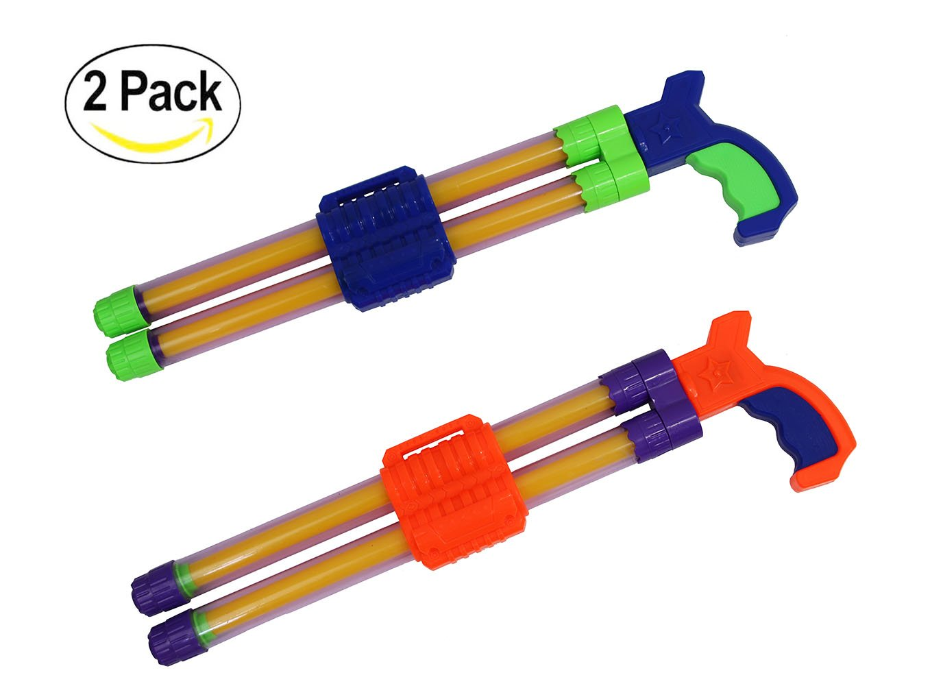 Ouzong 2 Pack Double Stream Machine Water Launcher With Non-Slip Holder For Kids Adults - 17 Inch Powerful Water Gun