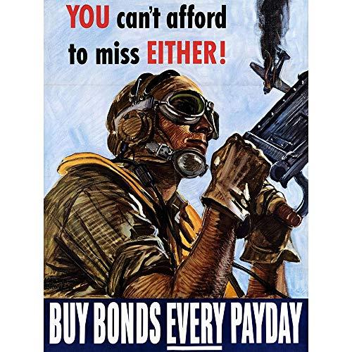 Wee Blue Coo Propaganda War WWII USA Bond Payday Gunner Plane Unframed Wall Art Print Poster Home Decor ()
