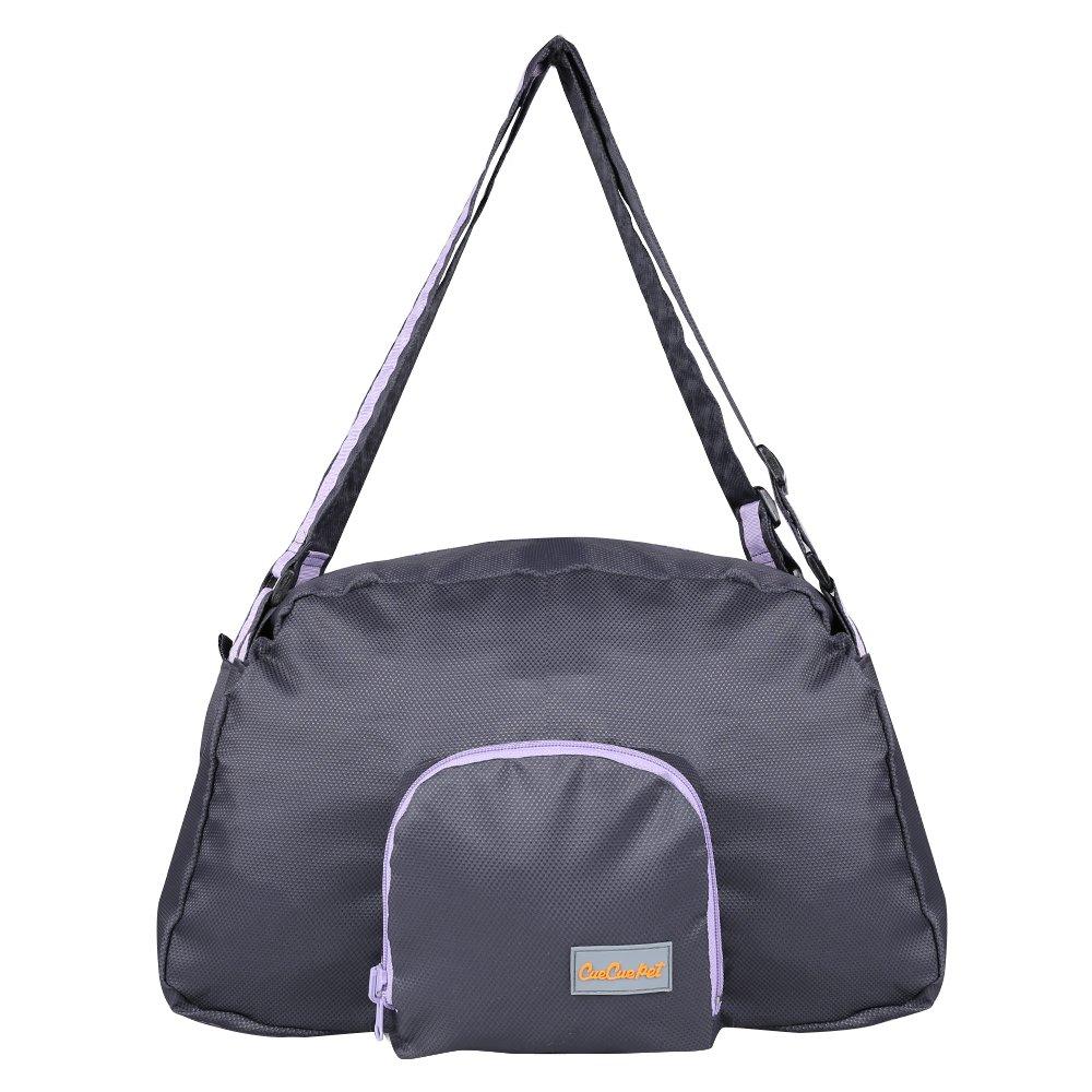 CueCue Pet Deluxe Foldable Expandable Pet Carrier Travel Bag, Black with Purple Trim