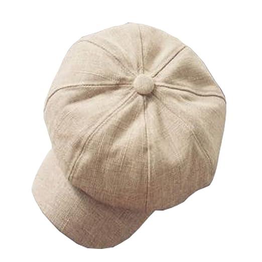 adf455b8 Shanghaipop Women Men Linen Newsboy Cap Baker Boy Cabbie Gatsby Beret Flat Hat  Vintage,22