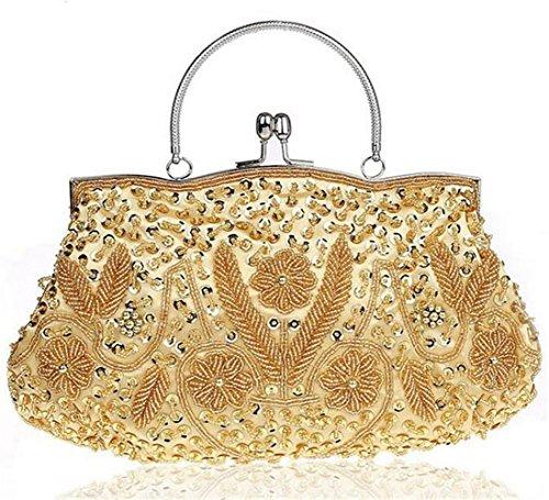 ISHOW Beaded Flores Metal cluthes noche bolsos con correas adicionales dorado
